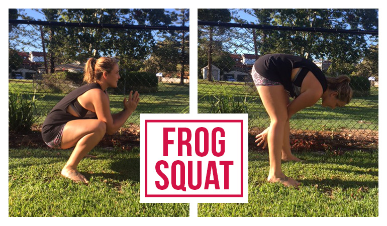 Bowel Cancer Australia 770x450 Hollie Warmup Frog Squat