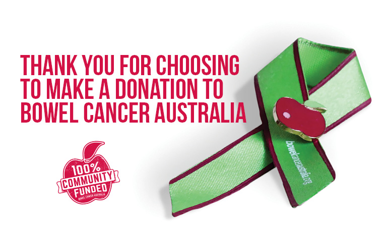 Bowel Cancer Australia Donation thanks