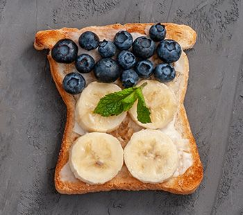 Bowel Cancer Australia Recipe Info Peanut Butter Banana Blueberry Crunch Open Toastie The Pbb