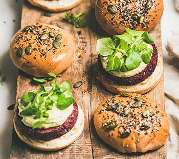 Smashed Beet Burger With Tahini Cream
